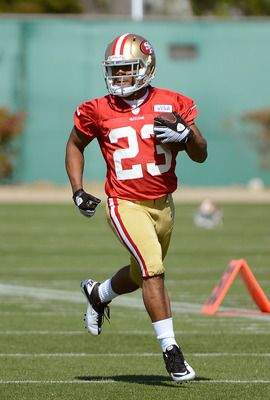 LaMichael James takes part in his first mini camp with the San Francisco 49ers on May 11, 2012.