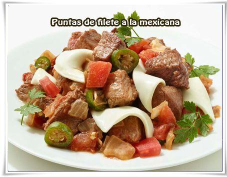 Puntas de filete a la mexicana