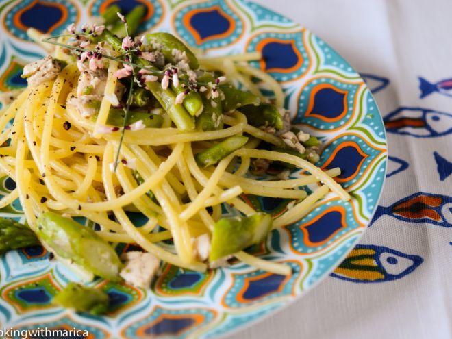Ricetta Portata principale : Spaghettoni con asparagi, pesce spada e zenzero da Cookingwithmarica
