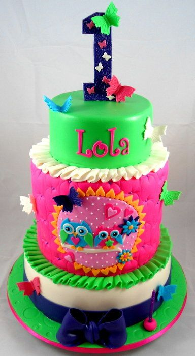 Lola's Owl Cake- 1st Birthday - by littleacrecakemaker @ CakesDecor.com - cake decorating website