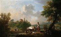 A pastoral landscape with figures herding cattle and a goat by a stream by Francesco Zuccarelli