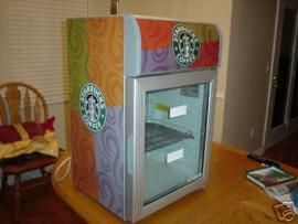 Description:Starbucks Mini Fridge Dimensions:L: 1 ft 5 in.  W: 1 ft 5 in.  H: 2 ft 4 in.  Weight:40 lbs