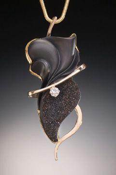 Pendant   Nancy Ellinghaus.  14k gold, drusy black onyx and diamond