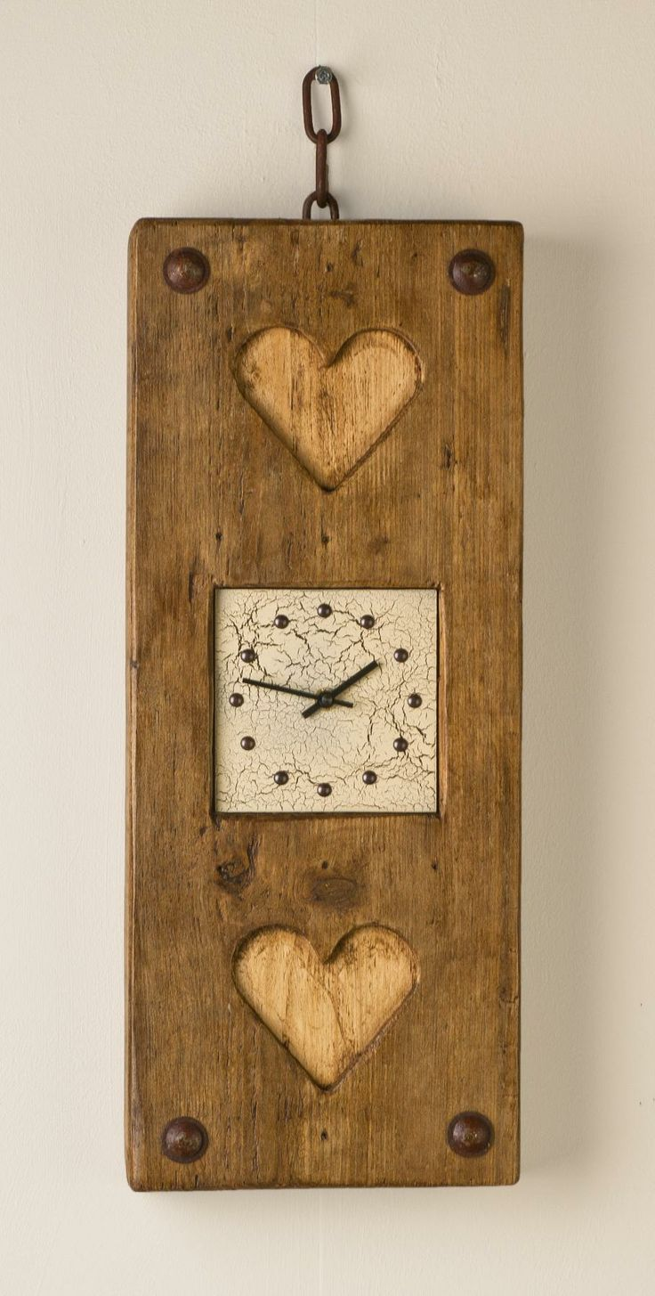 71 best clocks images on pinterest crafts environment and heart handmade clock cream face handmade driftwood double heart clock amipublicfo Image collections