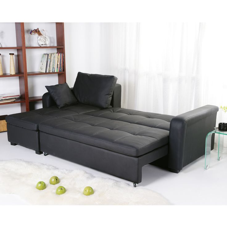 charlotte black faux leather convertible sectional sofa bed overstock shopping big discounts on