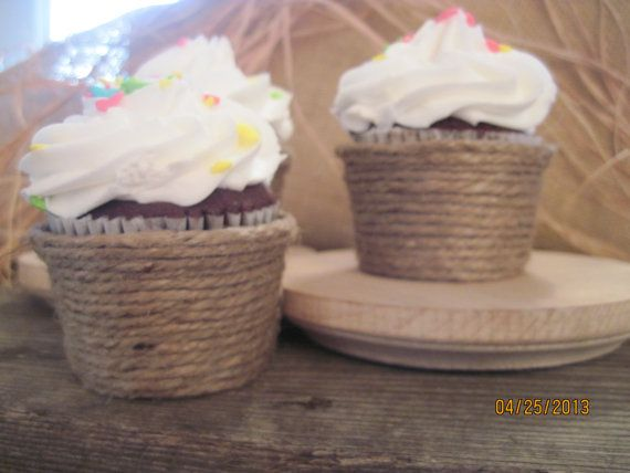 100 Jute Cupcake Wrappers MINI BITE SIZE unique Favors Party Cups Twine Country Rustic Southern Wedding Shower Decor on Etsy, $94.00