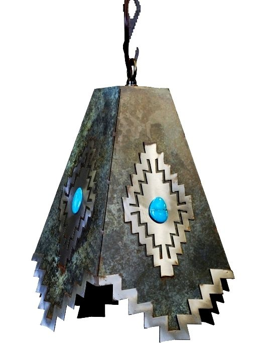 Desert Diamond a Genuine Turquoise Stone on Burnished Steel Pendant Lamp - Search for Burnished Steel Finished Products! So Cool!