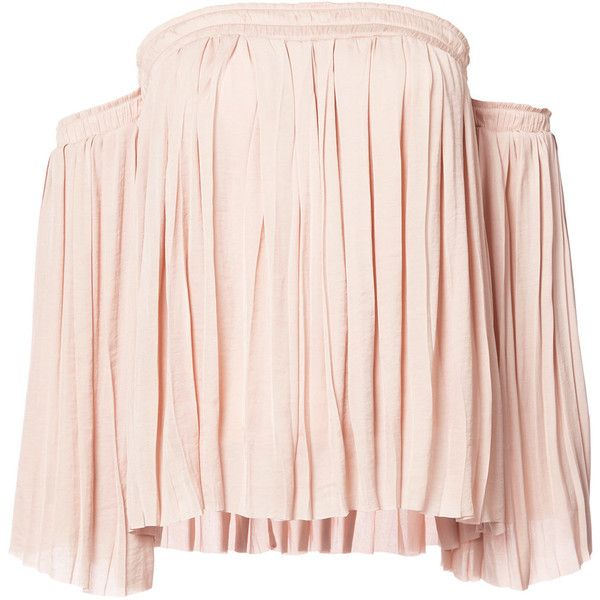 Elizabeth And James off shoulder blouse ($295) ❤ liked on Polyvore featuring tops, blouses, nude, pink top, pink blouse, off shoulder tops, nude blouses and elizabeth and james top