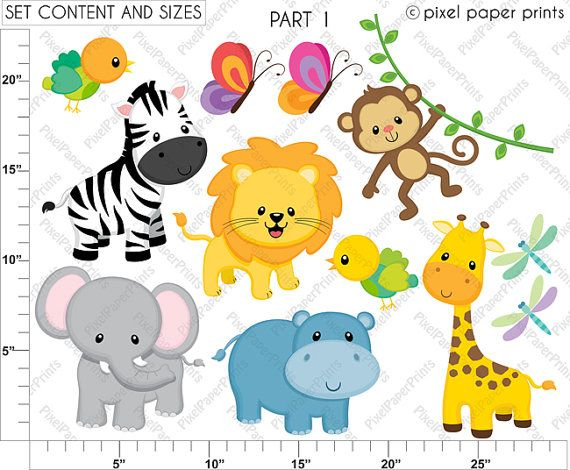 Jungle Friends Animals Clip art and Digital by pixelpaperprints