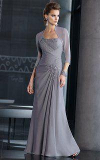 Elegant One-sided Draping Chiffon and Lace Formal Long Dress With Chiffon Jacket