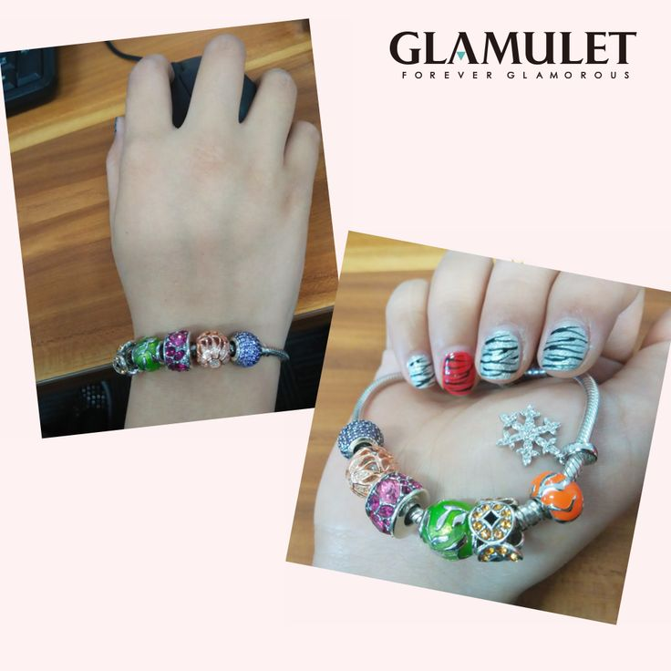 Glamulet 925 sterling silver charm beads with Swarovski crystals fits Pandora bracelets available on Amazon