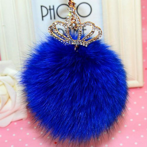 Fur Pom Pom Fluffy Large Genuine Real Fox Fur Keychain Fur Ball Key Chain Key Ring Bag Charm Women Bag Accessories