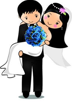 Noivinho segurando a noiva no colo, com bouquet azul.
