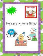 Free printable nursery rhyme bingo game for #preschool and #kindergarten via www.pre-kpages.com