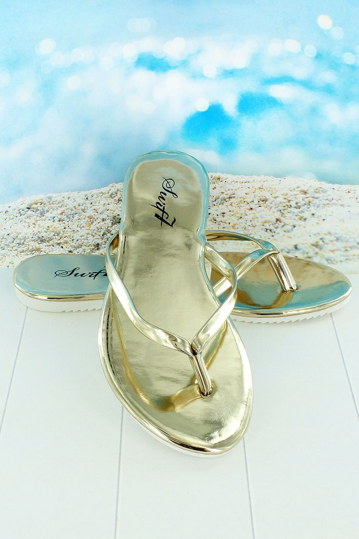 Women's Gold Flip Flops #FF06W-GLD *Choose Your Size