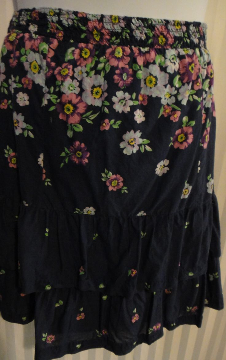 Navy Tiered/Ruffle Skirt with light blue and purple floral print available now at ChicCentSations eBay Store.