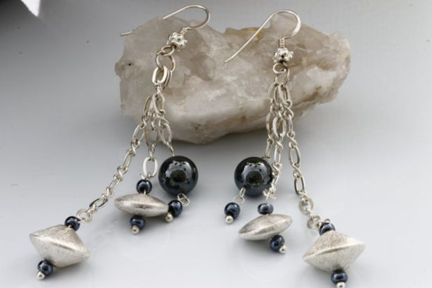 Sterling Silver Chain, Onyx Beads and  Brushed Sterling Silver Beads . For today's modern women strength and stamina