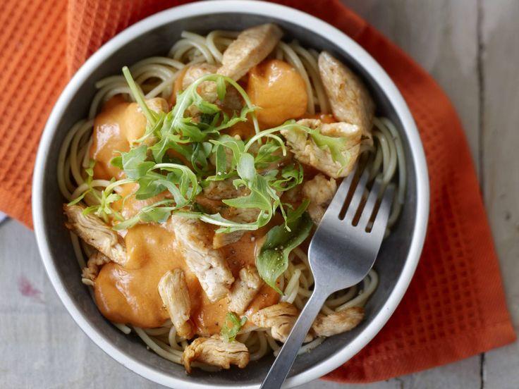Spaghetti met kalkoen en tomaten-mascarponesaus