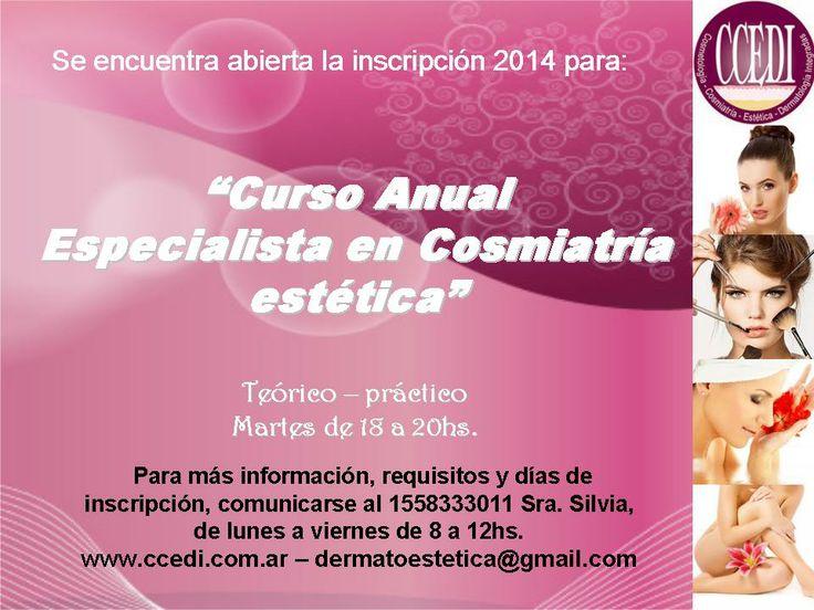 Curso Especialista en cosmiatria estetica - Inscripción 2014