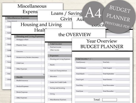 Budget Planner A4, Bill Expense Tracker List, Printable Monthly, Yearly Financial Planning List, INSTANT DOWNLOAD #101