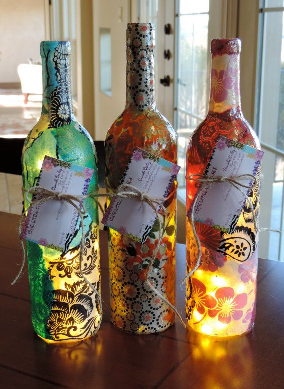 Decorative Wine Bottles Lights Beauteous Best 25 Custom Wine Bottles Ideas On Pinterest  Wine Bottle Decorating Design