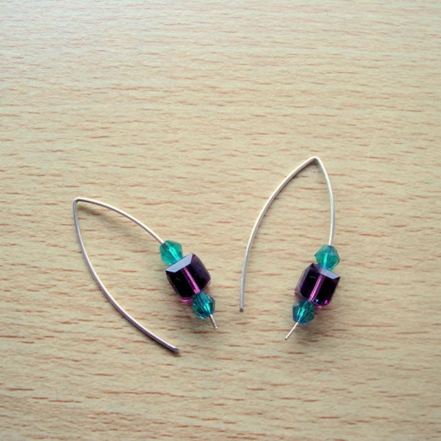 Sterling Silver with Purple & Green Swarovski Crystals Earrings