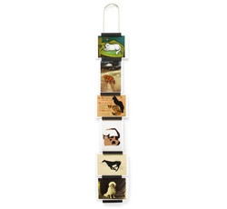 Postcard Picture Holder: Display up to six cards or pictures horizontally or vertically between the wooden pieces of this hanging holder. Made from dark maple wood on a steel rope. Postcards not included.