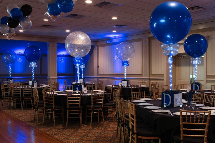 Bar Mitzvah Cube CenterpiecesBar Mitzvah Cube Centerpieces with Custom Logo, Sparkly Initial & Alternating Solid & Sparkle Balloons