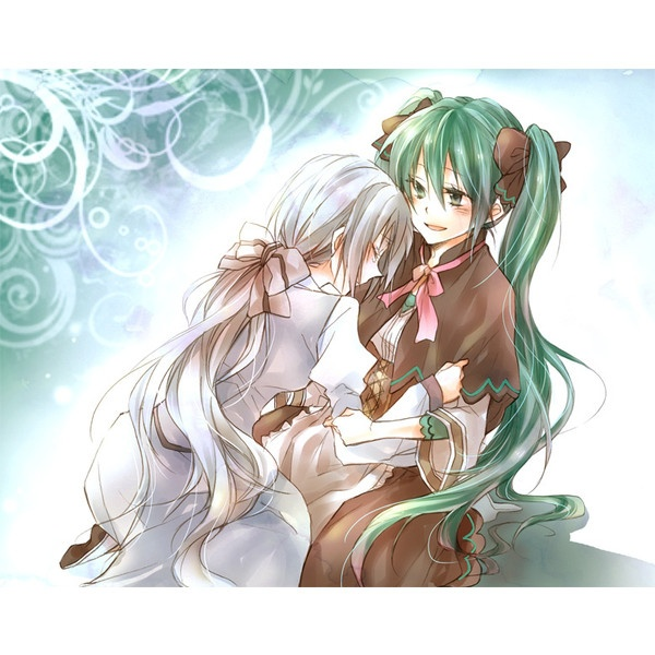 2girls aku no musume (vocaloid) daughter of white (vocaloid) green... ❤ liked on Polyvore