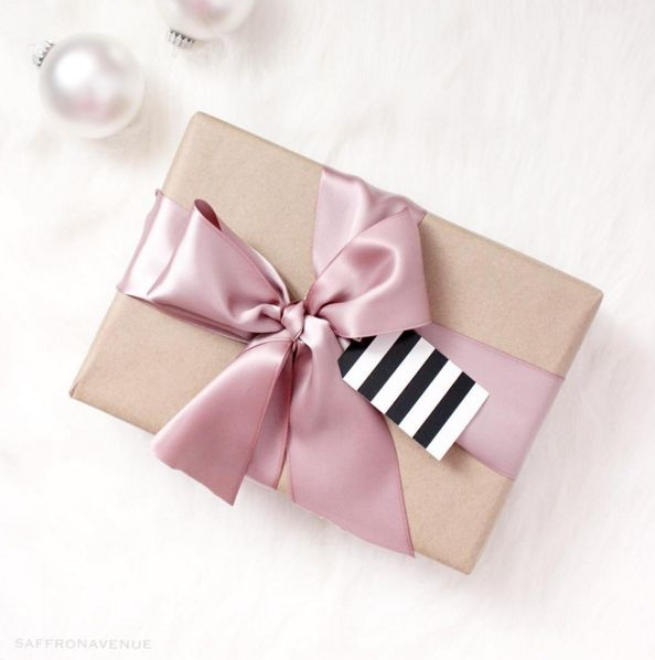 Gift Wrapping - Pink and Kraft, Black and White stripes, #saffronavenue