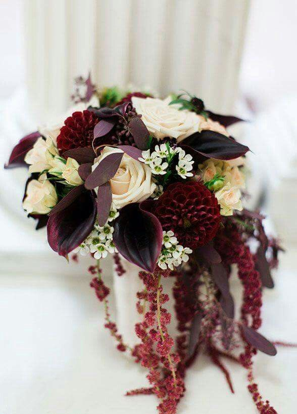 Midnight Calla Lily, Vendela rose, deep red Dahlias, red Amaranth
