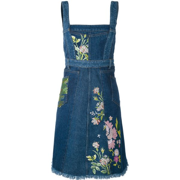 Alexander McQueen floral embroidered denim dress ($3,685) ❤ liked on Polyvore featuring dresses, blue, blue denim dress, square neck dress, sleeveless dress, floral embroidered dresses and blue flared skirt