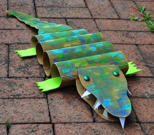 Art with Kids: Cardboard Crocodiles