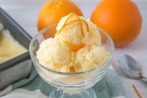 For a sweet and simple dessert, make this Orange Sherbert in just 10 minutes.