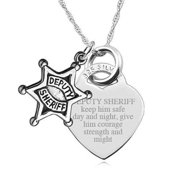 Deputy Sheriff Wife Prayer with Deputy Sheriff Badge Heart Shaped 925 Sterling Silver on Etsy, $49.99