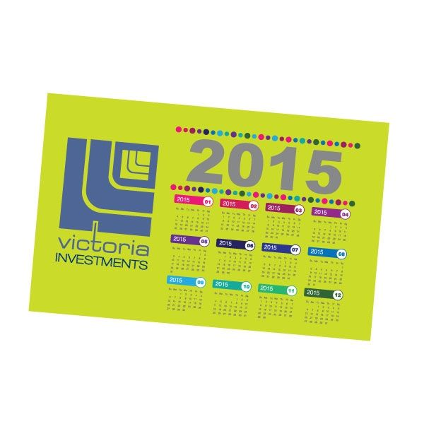 MAG103 Magnetic A5 calendar (landscape) with Full Colour  Print Product Size: 210 x 148mm Branding: Digital print - Full Colour  Branding Area: Corner to Corner Material: Laminated Magnet