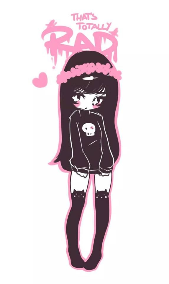 cute black hair pastel goth girl drawing ^^