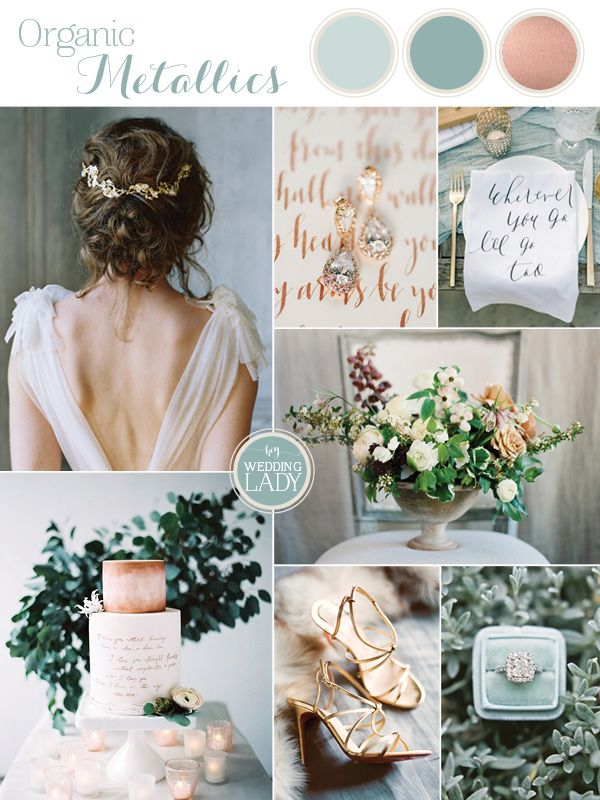 Organic Meets Metallic Wedding Palette in Sage and Rose Gold