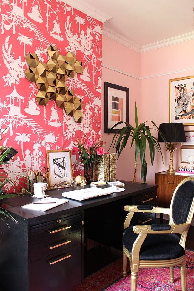 Swoon Worthy office - black desk with gold hardware, blush pink walls, bold feature wallpaper, Black velvet chair