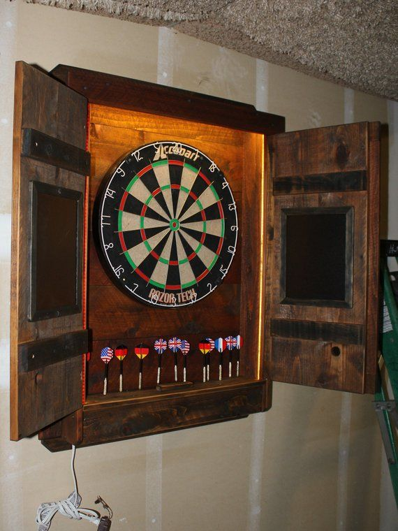 Dartboard Cabinet Light Led Darts Board Throw Line Laser Etsy Dart Board Cabinet Dart Board Dart Board Backboard