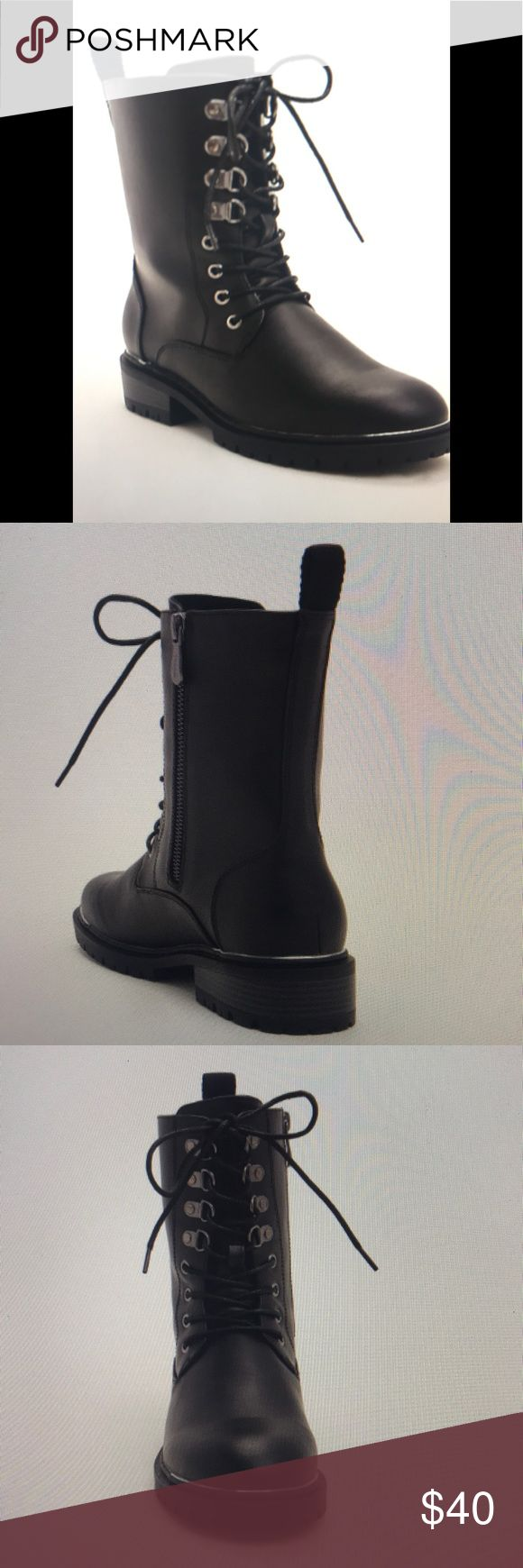 Faux leather metal toe combo boots NWT in box Adjustable zip side allows you to throw these on quick and adds that edge to your wardrobe. Metal details add character and shine. True wide width!! Super comfy and supportive. torrid Shoes Combat & Moto Boots