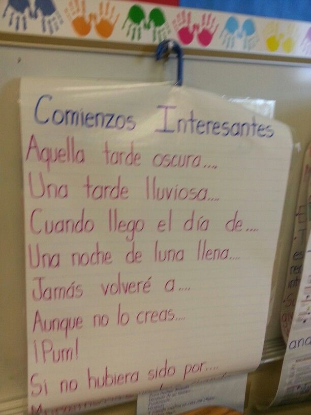Spanish anchor chart -writing interesting grabbers
