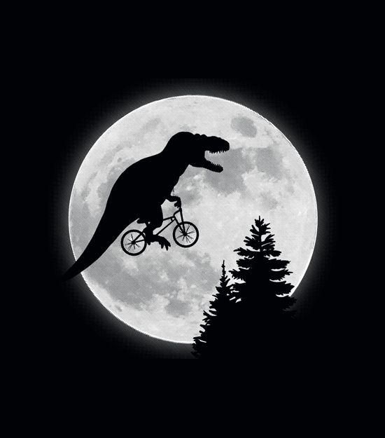 """T-Rex Moon"" graphic t-shirt.  Imagine if E.T. had been made with dinosaurs.  Yep, brilliant."