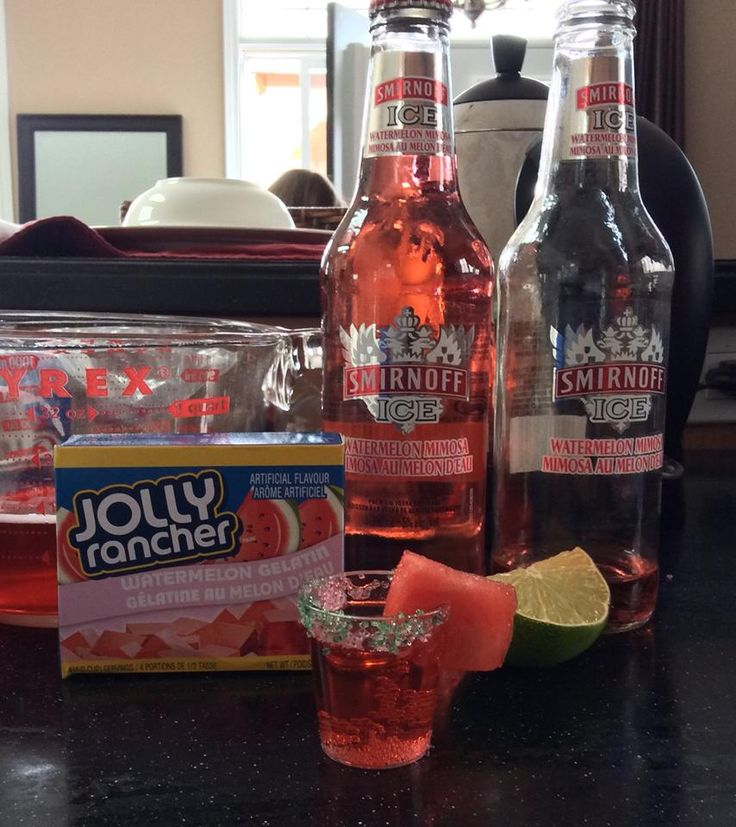 Jolly Rancher Watermelon Jello Smirnoff Ice Watermelon Mimosa your friends won't be able to stop at just 3 shots (liquor drinks jello shots)