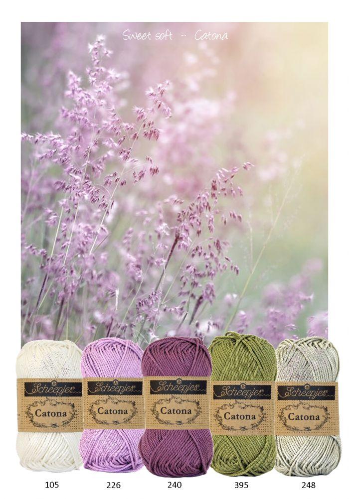 Kleurencombinatie sweet soft mooie kleuren katoen van Scheepjeswol om mee te haken of te breien. Paars, lila, groen en off white.