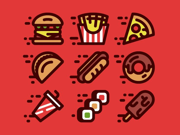 Fast Food Icons by July Pluto https://dribbble.com/shots/2632956-Fast-Food-Icons…