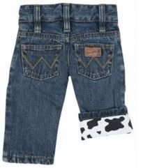 Wrangler Infants' All Around Cow Print Jeans -- These little cow print jeans are absolutely adorable! | SouthTexasTack.com