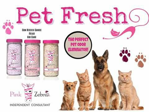 Pink Zebra recipe for Pet Fresh is made with Relax, Sunkissed Sands and Air Care+ sprinkles. Go to www.pinkzebrahome.com/mrasley to order.