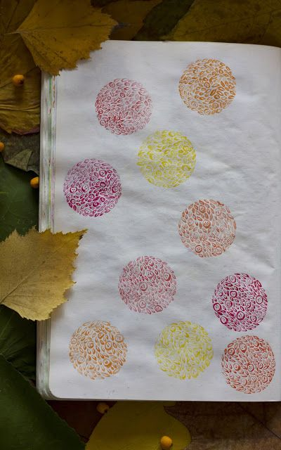 Shades of autumn, pattern, watercolor