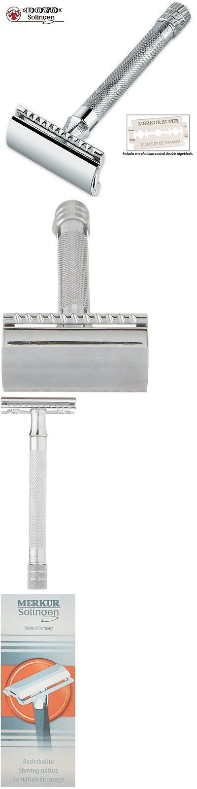 Mens Razors: Double Edge Blades Razor Long Handle Extra Close Shave Merkur Stainless Steel BUY IT NOW ONLY: $30.95